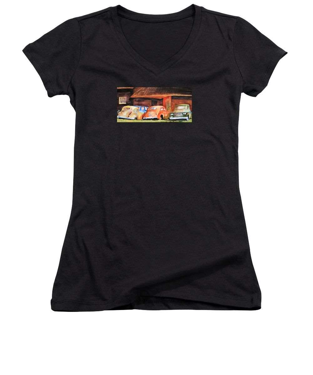 Car Women's V-Neck T-Shirt featuring the painting Rusting by Karen Stark