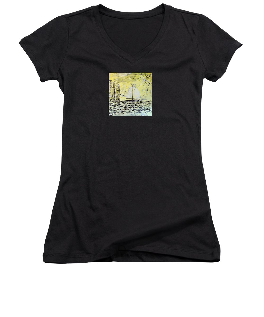 Abstract Women's V-Neck (Athletic Fit) featuring the painting Sail And Sunrays by J R Seymour
