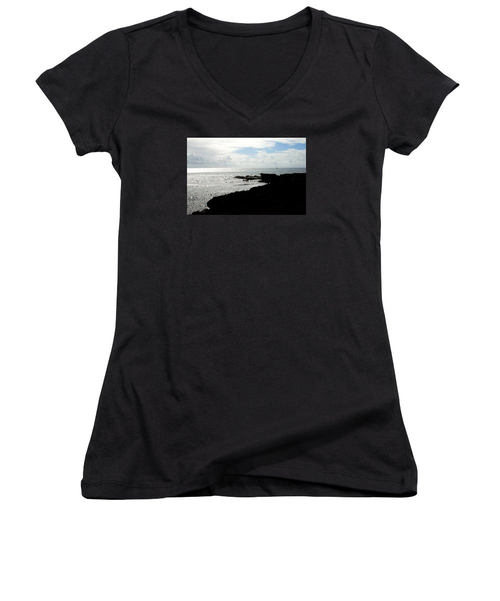 Sailboat Women's V-Neck (Athletic Fit) featuring the photograph Sailboat At Point by Jean Macaluso