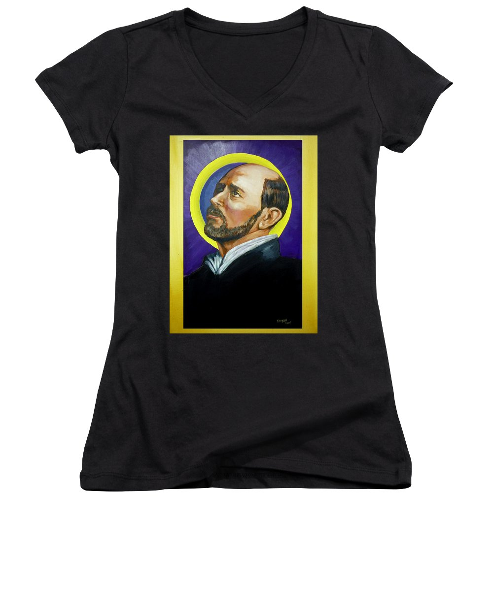 Saint Women's V-Neck (Athletic Fit) featuring the painting Saint Ignatius Loyola by Bryan Bustard