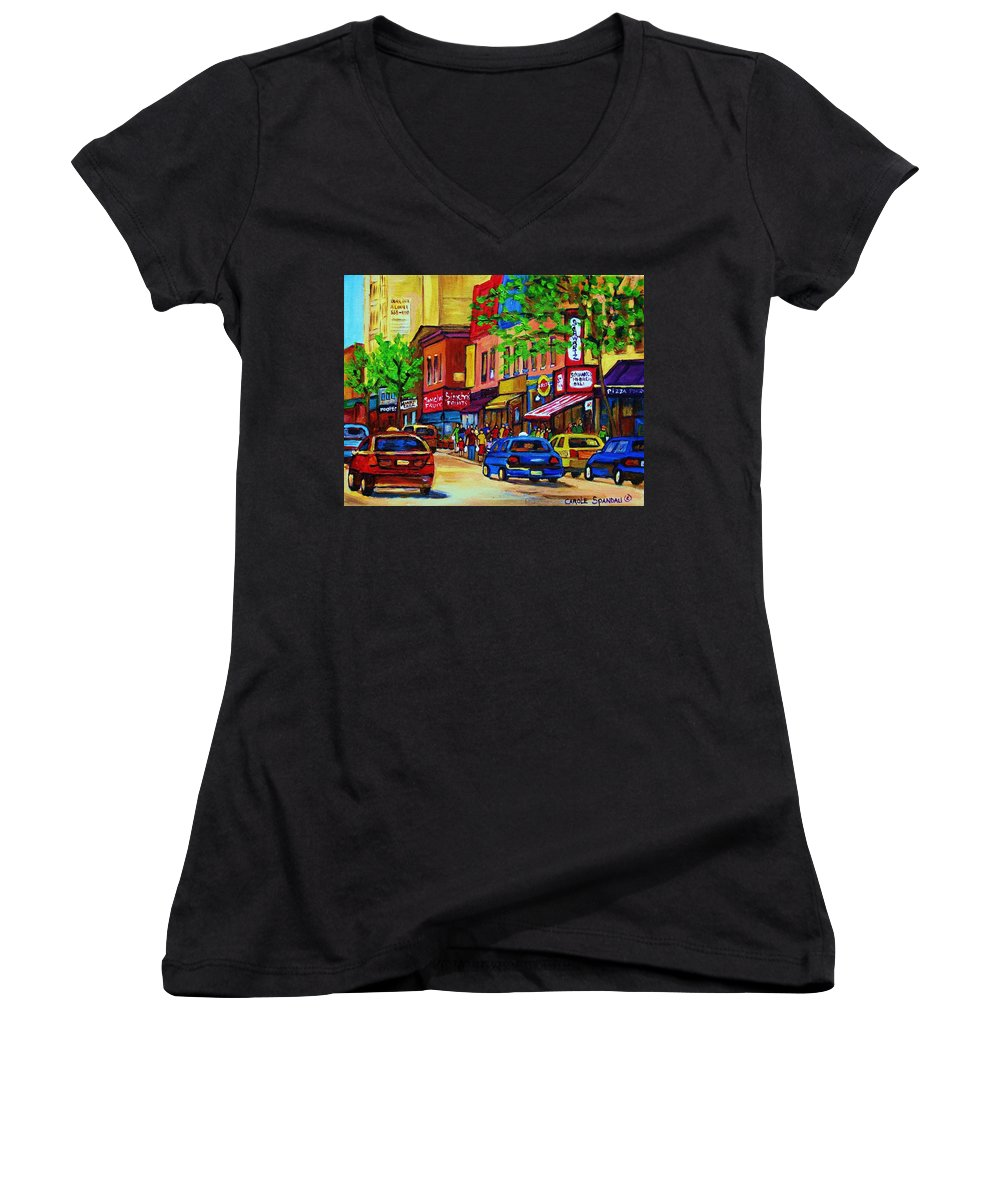 Cityscape Women's V-Neck T-Shirt featuring the painting Saint Lawrence Street by Carole Spandau
