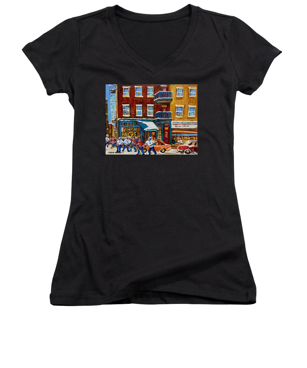 Montreal Women's V-Neck (Athletic Fit) featuring the painting Saint Viateur Bagel With Hockey by Carole Spandau