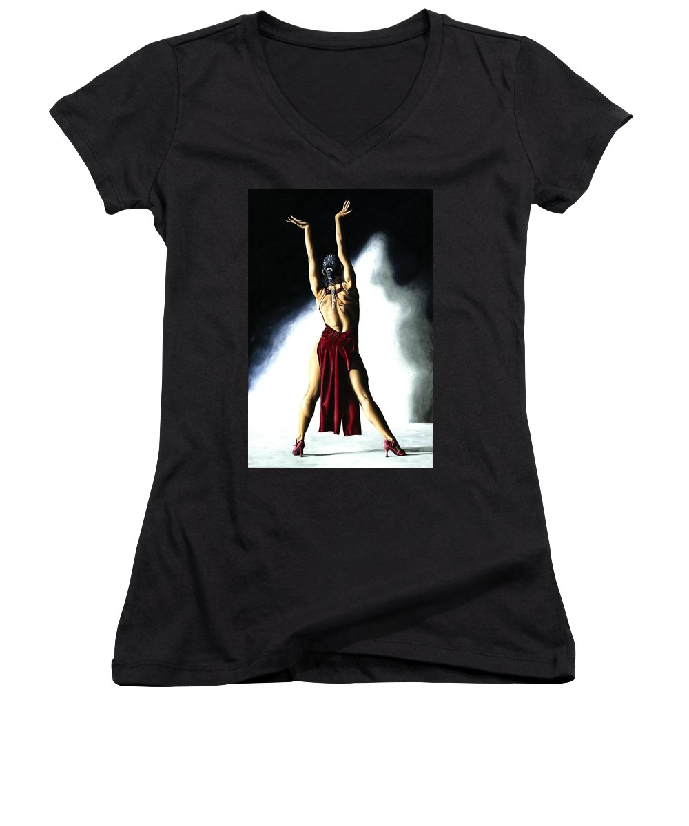 Samba Women's V-Neck T-Shirt featuring the painting Samba Celebration by Richard Young