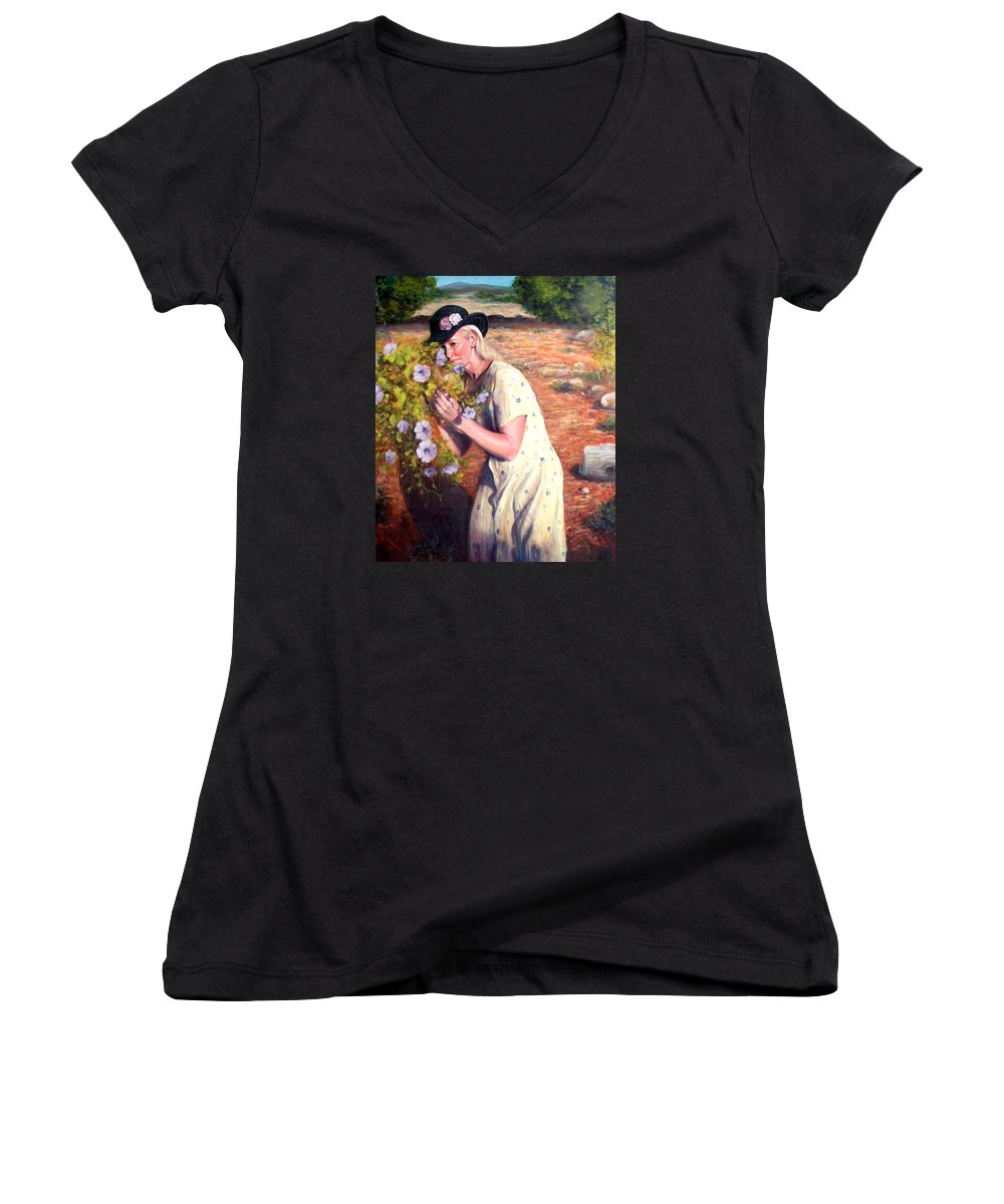 Realism Women's V-Neck T-Shirt featuring the painting Santa Fe Garden 2  by Donelli DiMaria