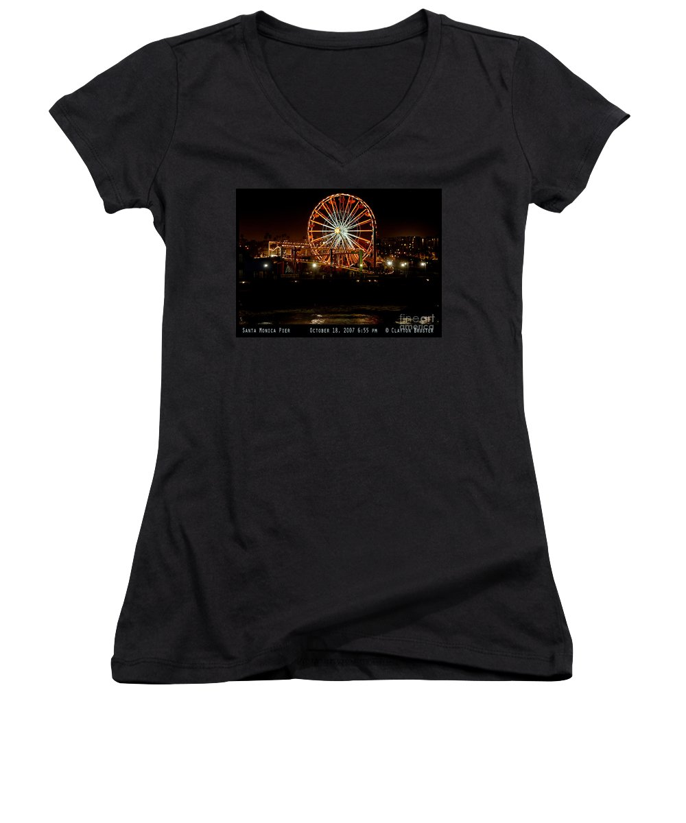 Clay Women's V-Neck T-Shirt featuring the photograph Santa Monica Pier October 18 2007 by Clayton Bruster