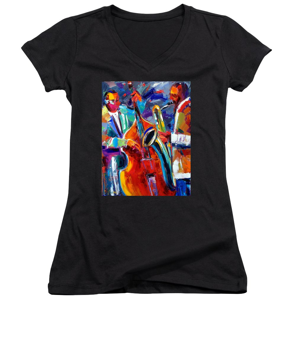 Jazz Painting Women's V-Neck T-Shirt featuring the painting Sax And Bass by Debra Hurd