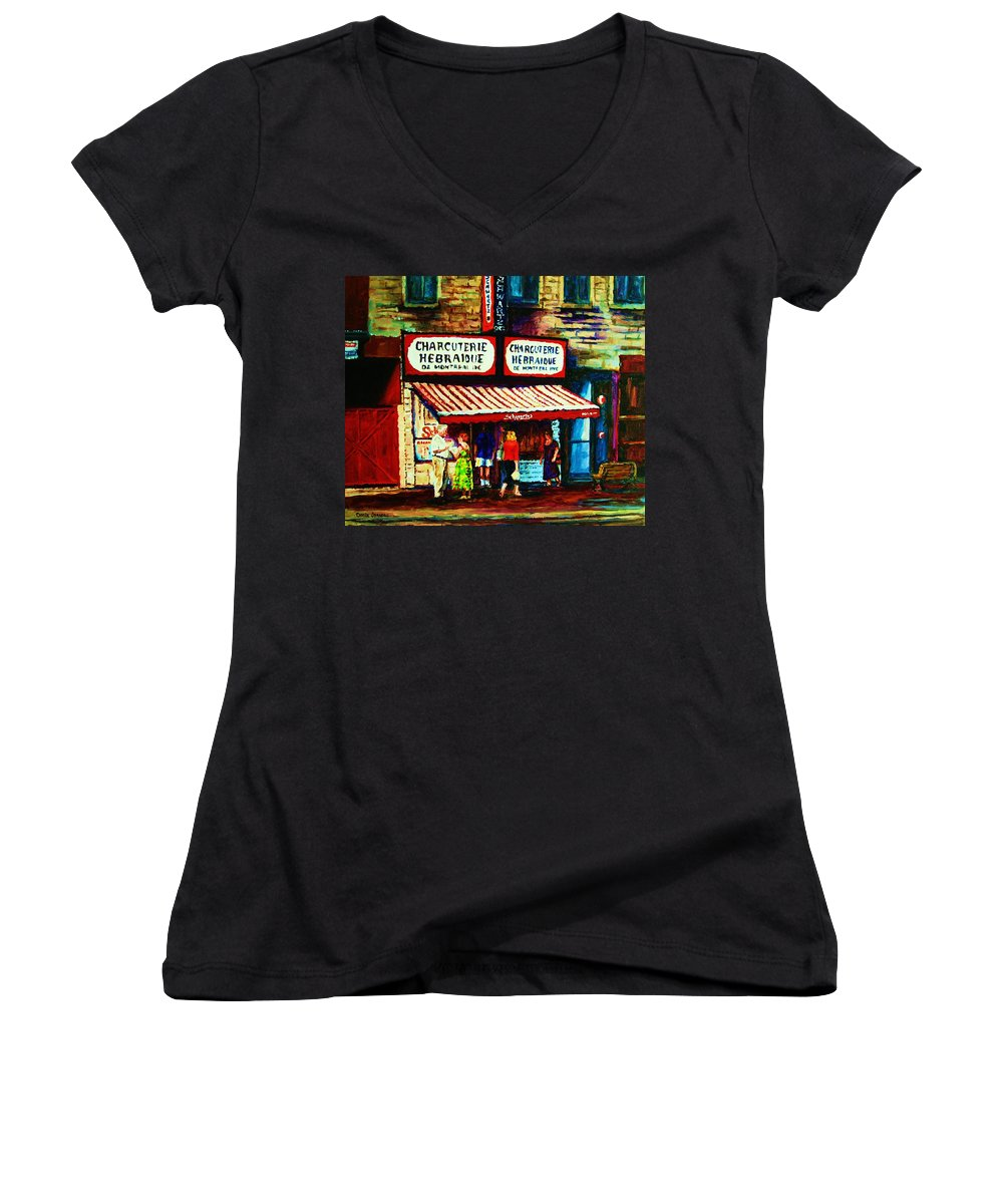 Schwartz Deli Women's V-Neck (Athletic Fit) featuring the painting Schwartzs Famous Smoked Meat by Carole Spandau