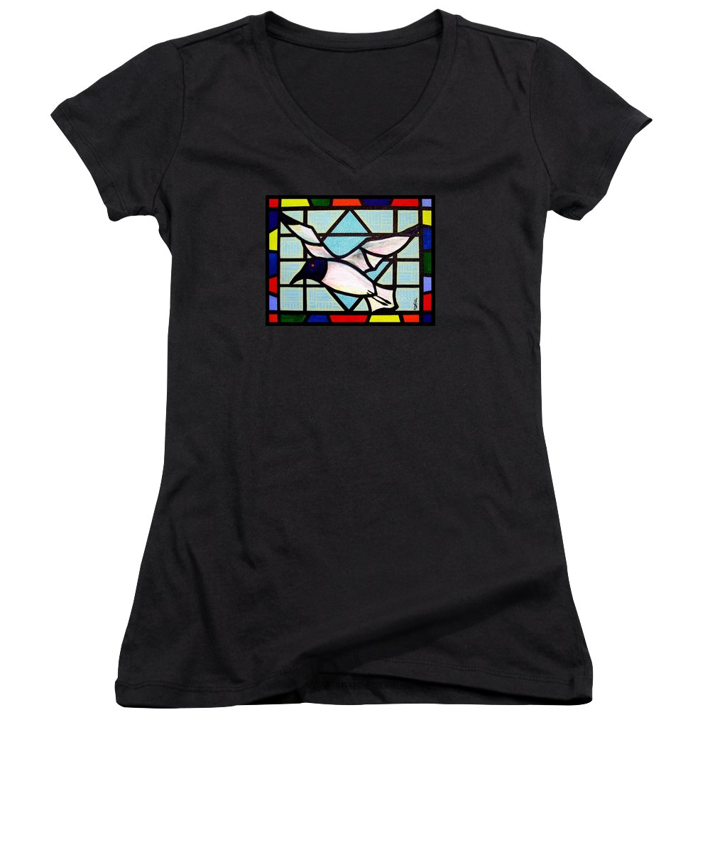 Seagull Women's V-Neck T-Shirt featuring the painting Seagull Serenade by Jim Harris