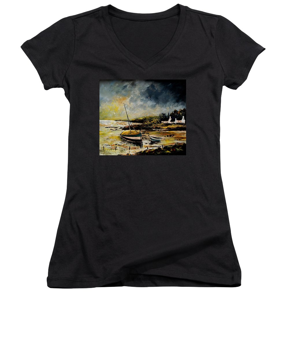 Sea Women's V-Neck T-Shirt featuring the painting Seascape 452654 by Pol Ledent