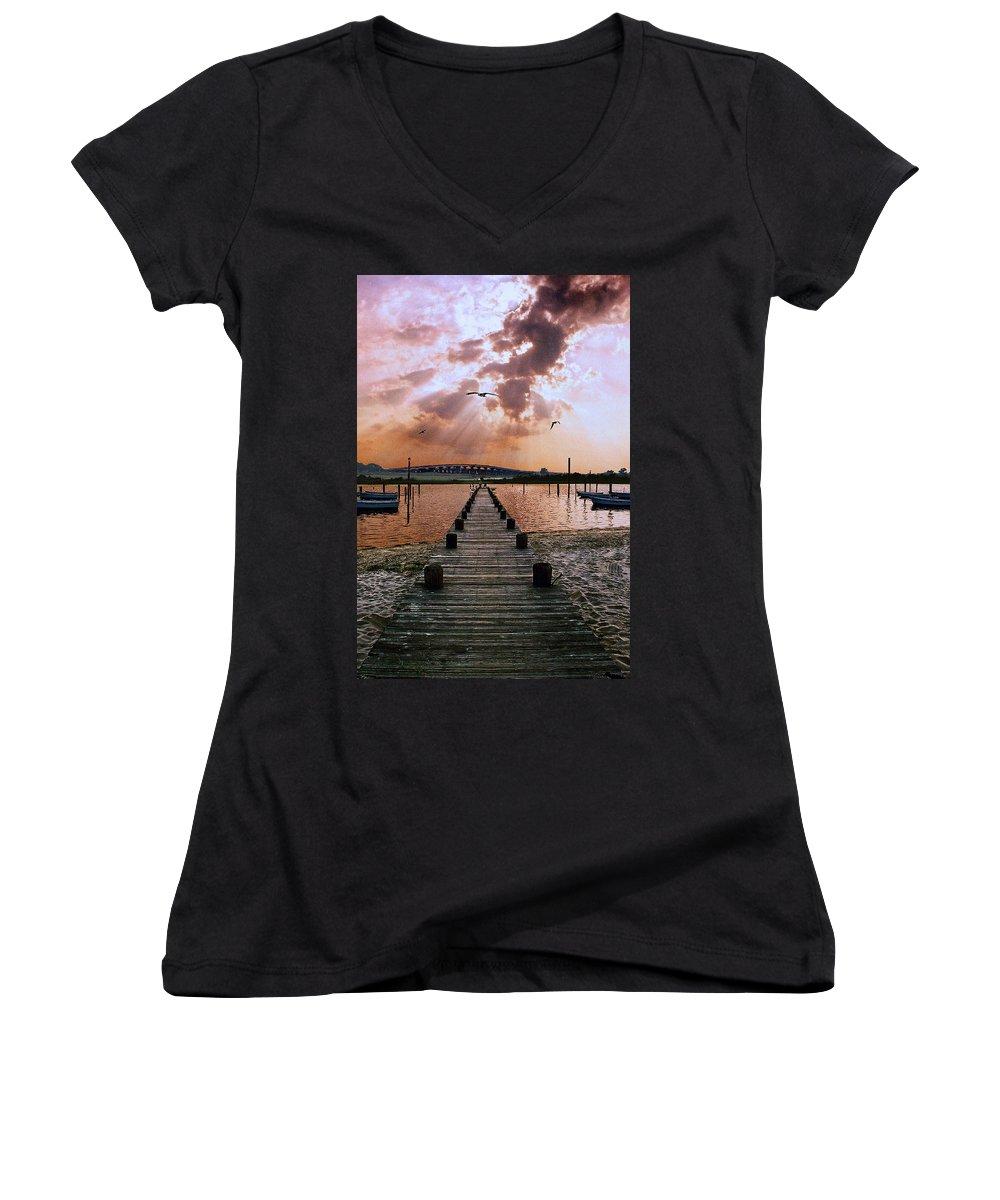 Seascape Women's V-Neck T-Shirt featuring the photograph Seaside by Steve Karol