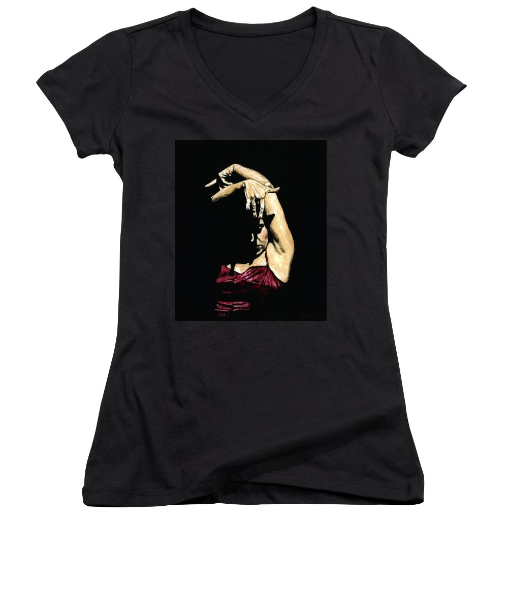 Flamenco Women's V-Neck (Athletic Fit) featuring the painting Seclusion Del Flamenco by Richard Young