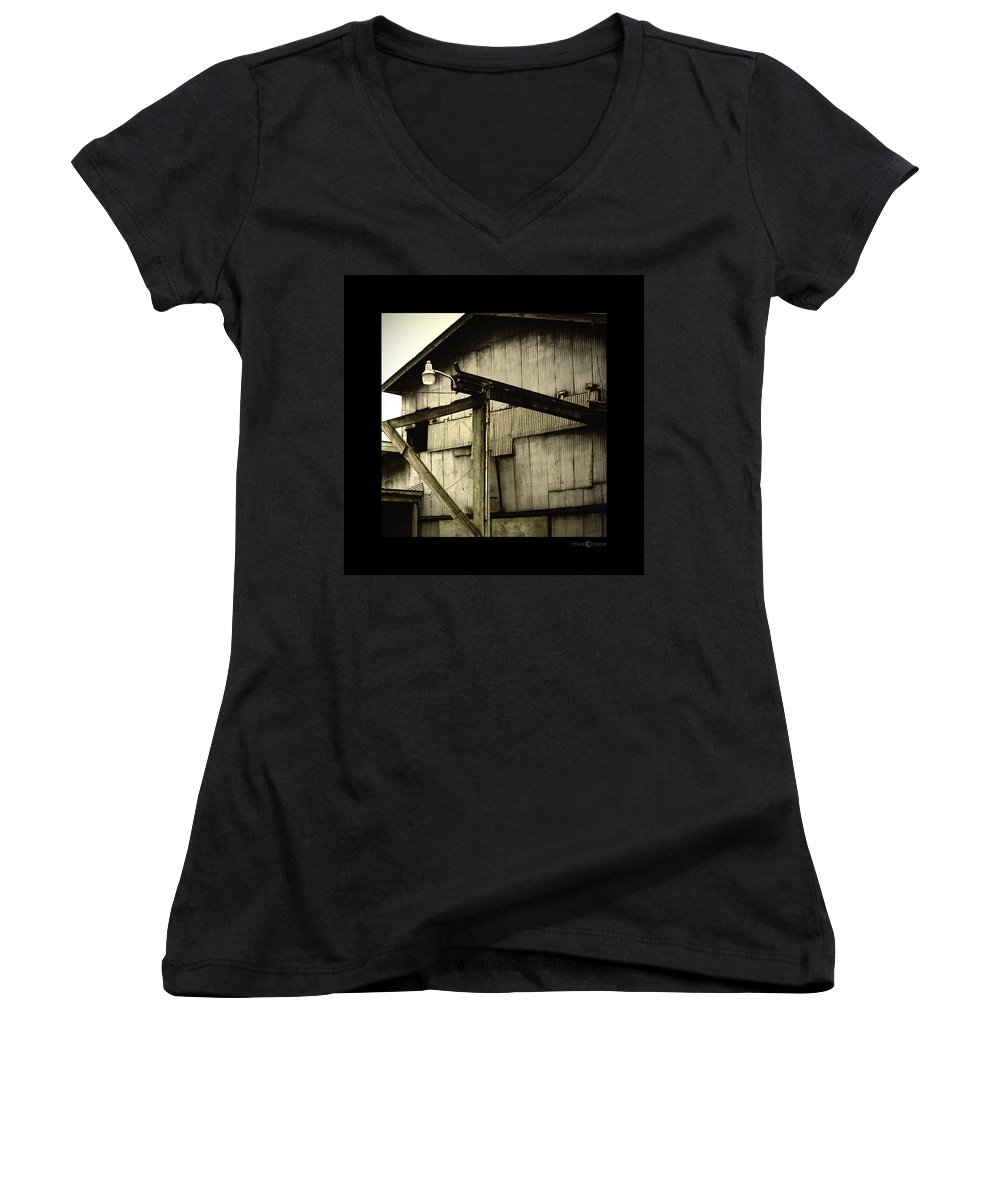 Corrugated Women's V-Neck T-Shirt featuring the photograph Security Light by Tim Nyberg