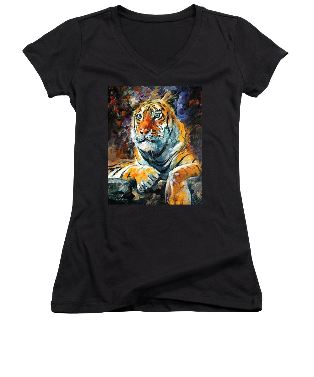 Painting Women's V-Neck (Athletic Fit) featuring the painting Seibirian Tiger by Leonid Afremov