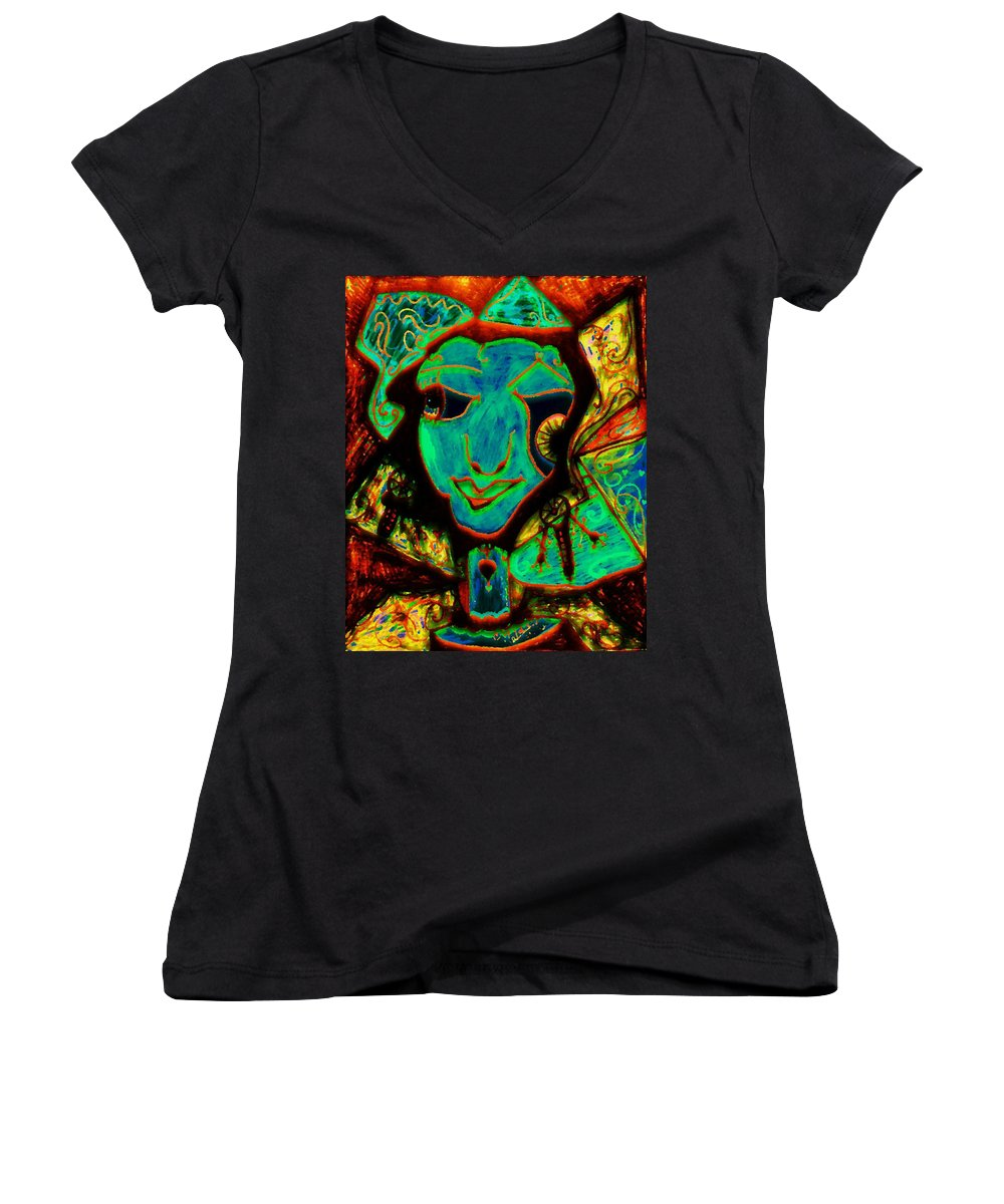 Fantasy Women's V-Neck (Athletic Fit) featuring the painting Self Portrait by Natalie Holland