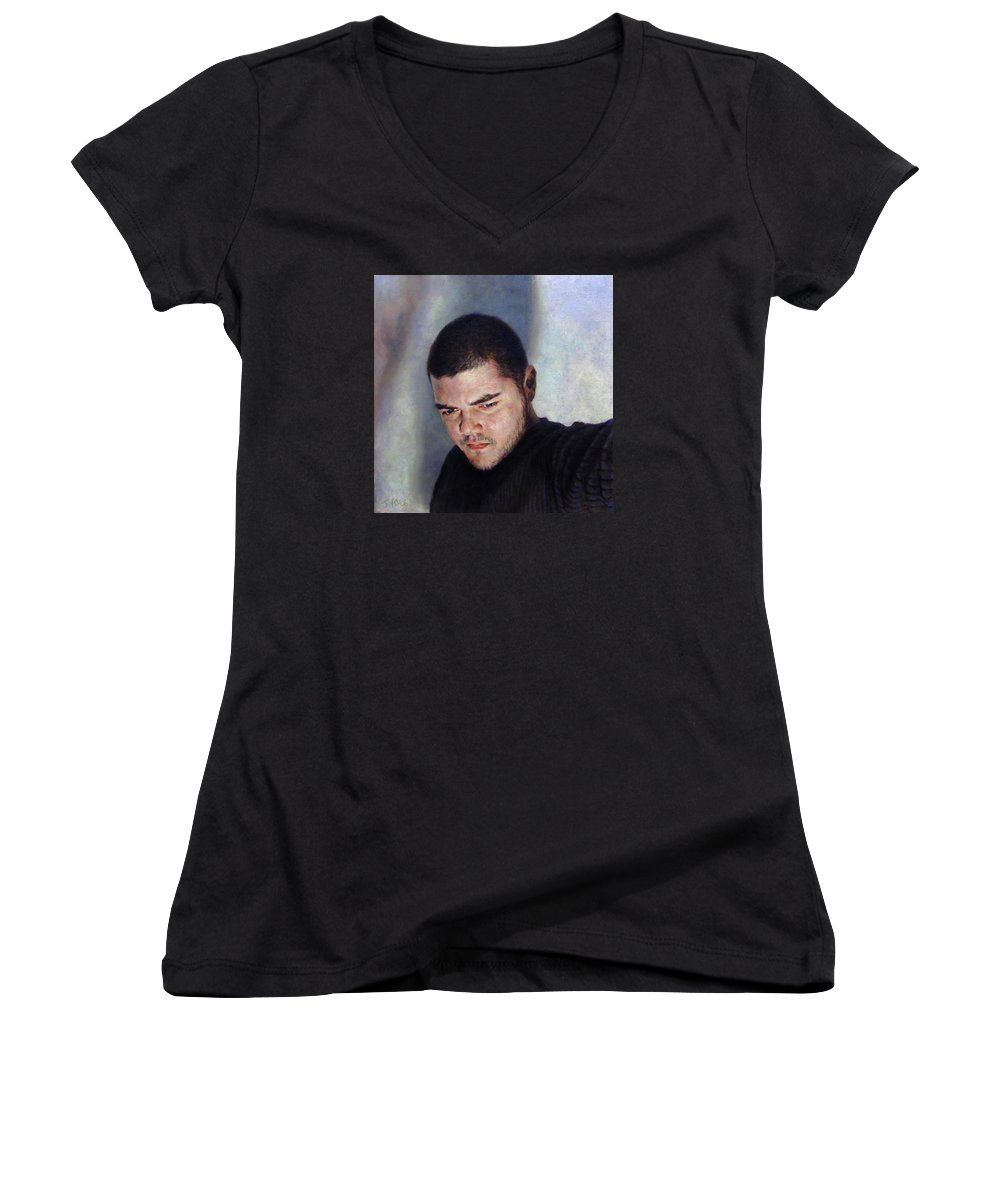 Self Women's V-Neck T-Shirt featuring the painting Self Portrait W Shadows by Joe Velez