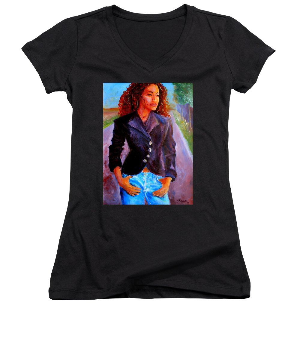 Acrylic Women's V-Neck T-Shirt featuring the painting Sharice by Jason Reinhardt