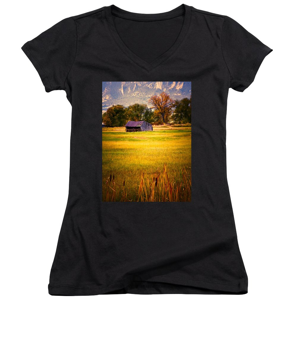 Shed Women's V-Neck T-Shirt featuring the photograph Shed In Sunlight by Marilyn Hunt