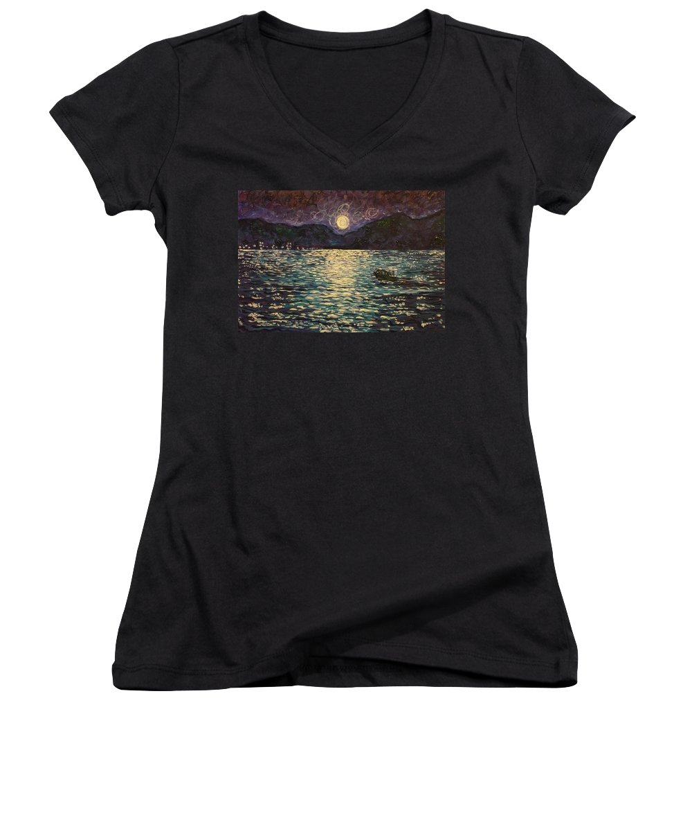 Landscape Women's V-Neck (Athletic Fit) featuring the painting Silver Sea by Ericka Herazo