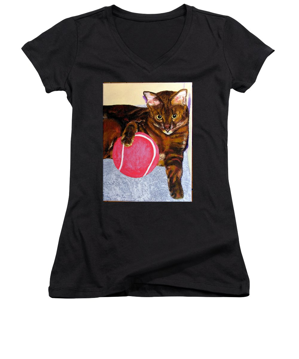 Cat Women's V-Neck T-Shirt featuring the painting Simon by Stan Hamilton
