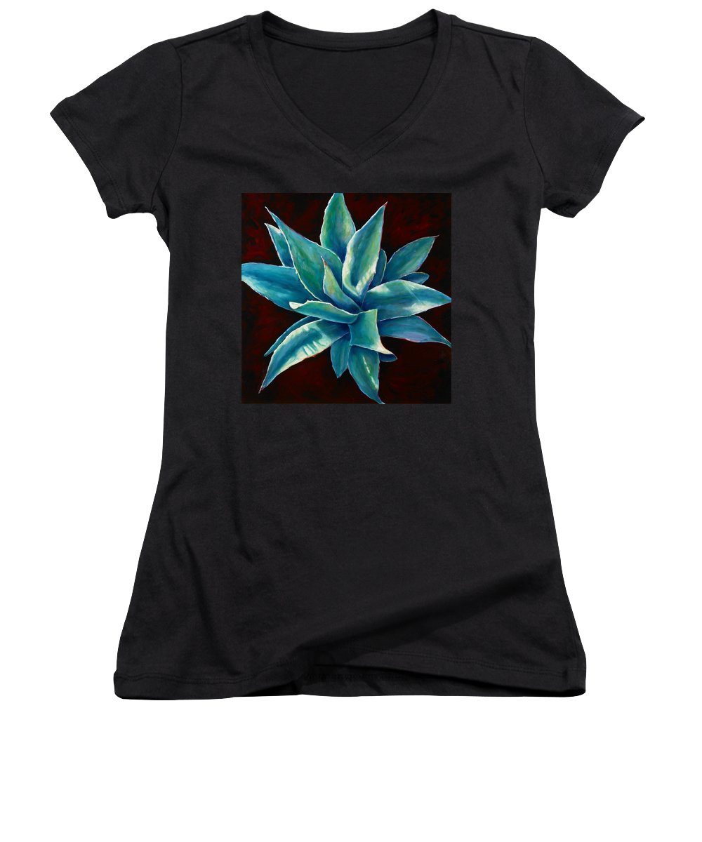 Agave Women's V-Neck T-Shirt featuring the painting Simply Succulent by Shannon Grissom