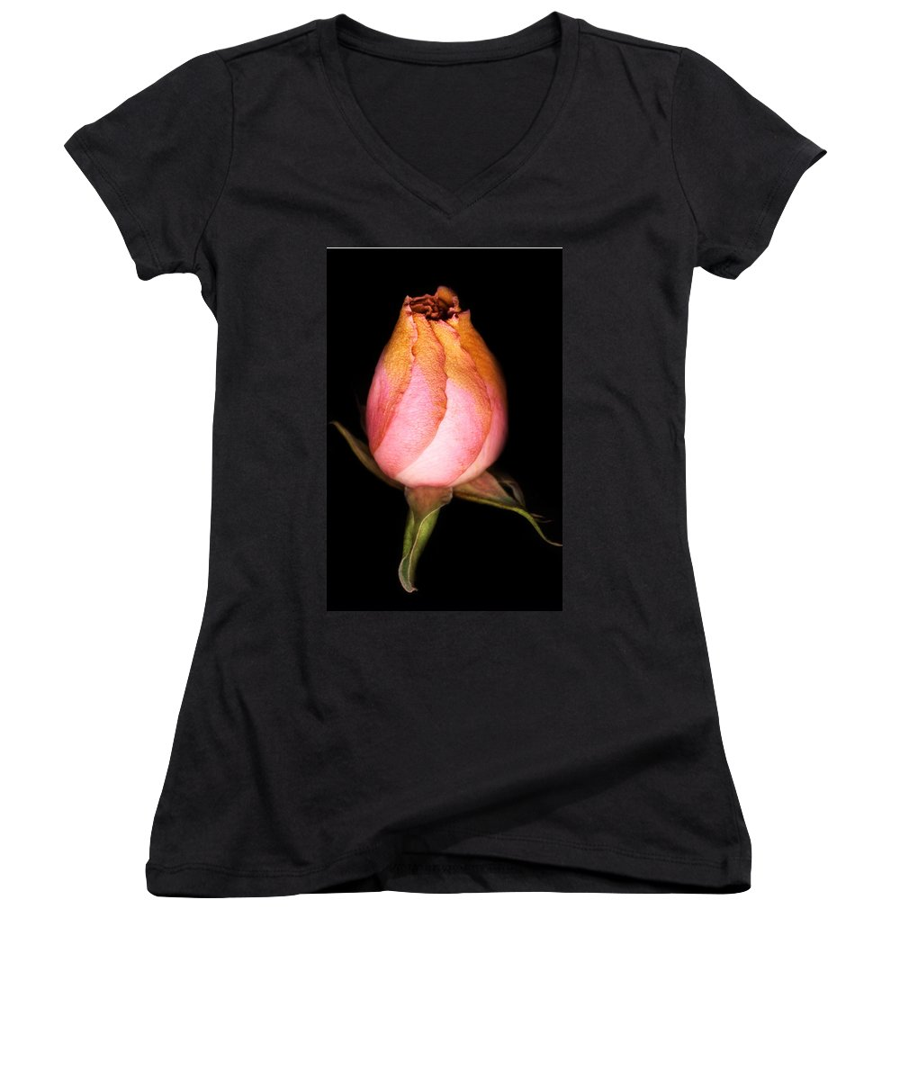 Rose Women's V-Neck (Athletic Fit) featuring the photograph single Rose by Marilyn Hunt