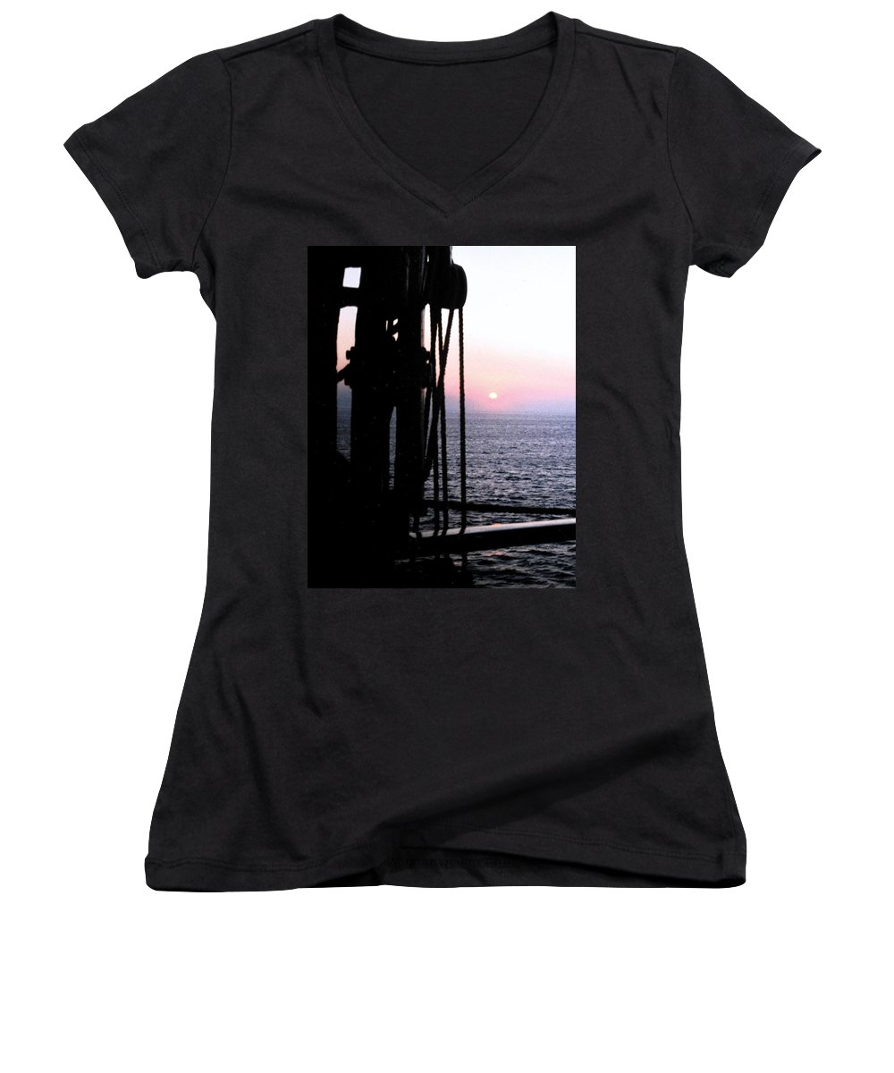 Ship Women's V-Neck T-Shirt featuring the photograph Sinking Sun by Ian MacDonald