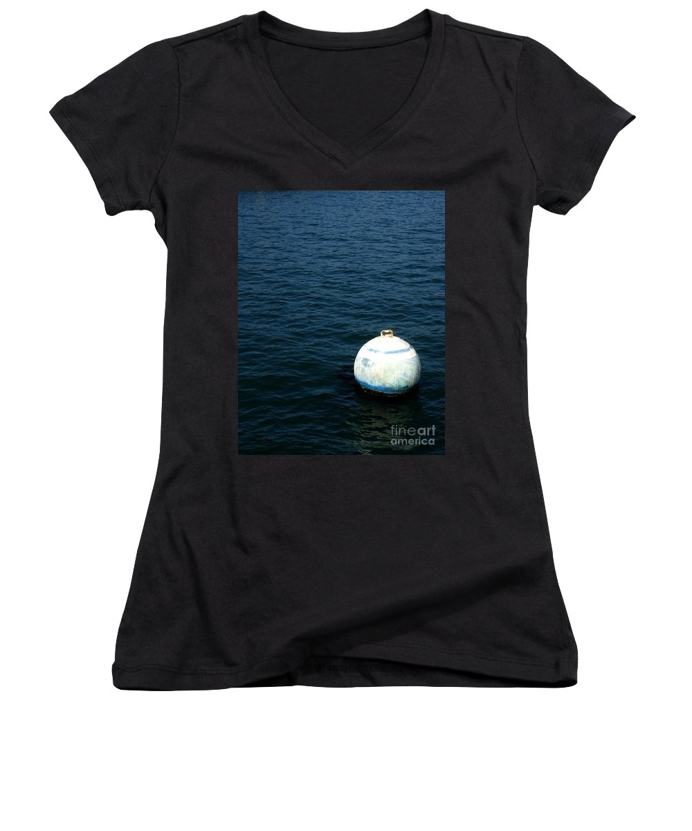 Seascape Women's V-Neck T-Shirt featuring the photograph Sit And Bounce by Shelley Jones