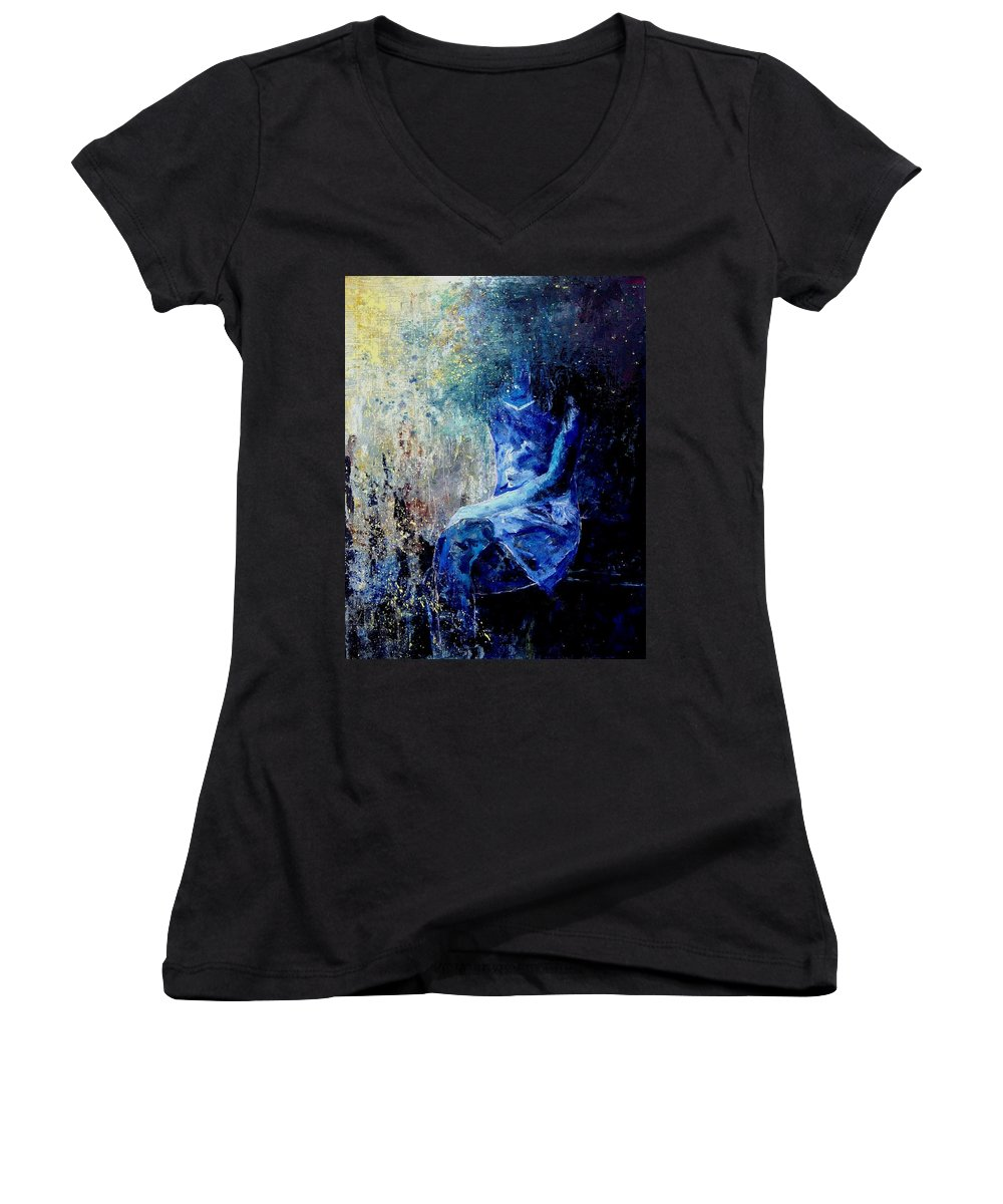 Woman Girl Fashion Women's V-Neck T-Shirt featuring the painting Sitting Young Girl by Pol Ledent