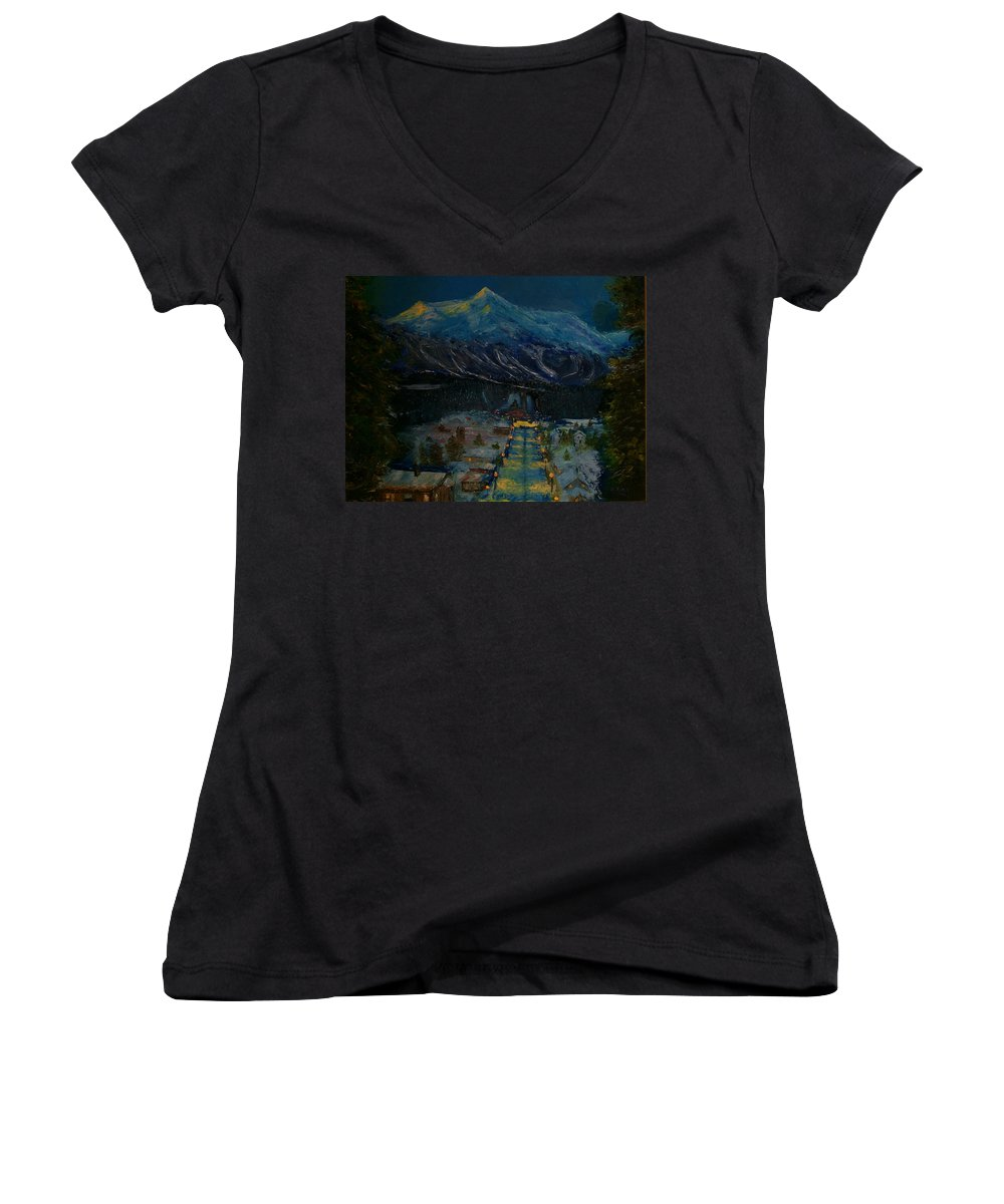 Winter Women's V-Neck T-Shirt featuring the painting Ski Resort by Stephen King