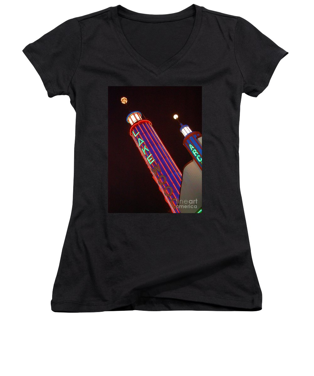 Neon Women's V-Neck T-Shirt featuring the photograph Sky Lights by Debbi Granruth