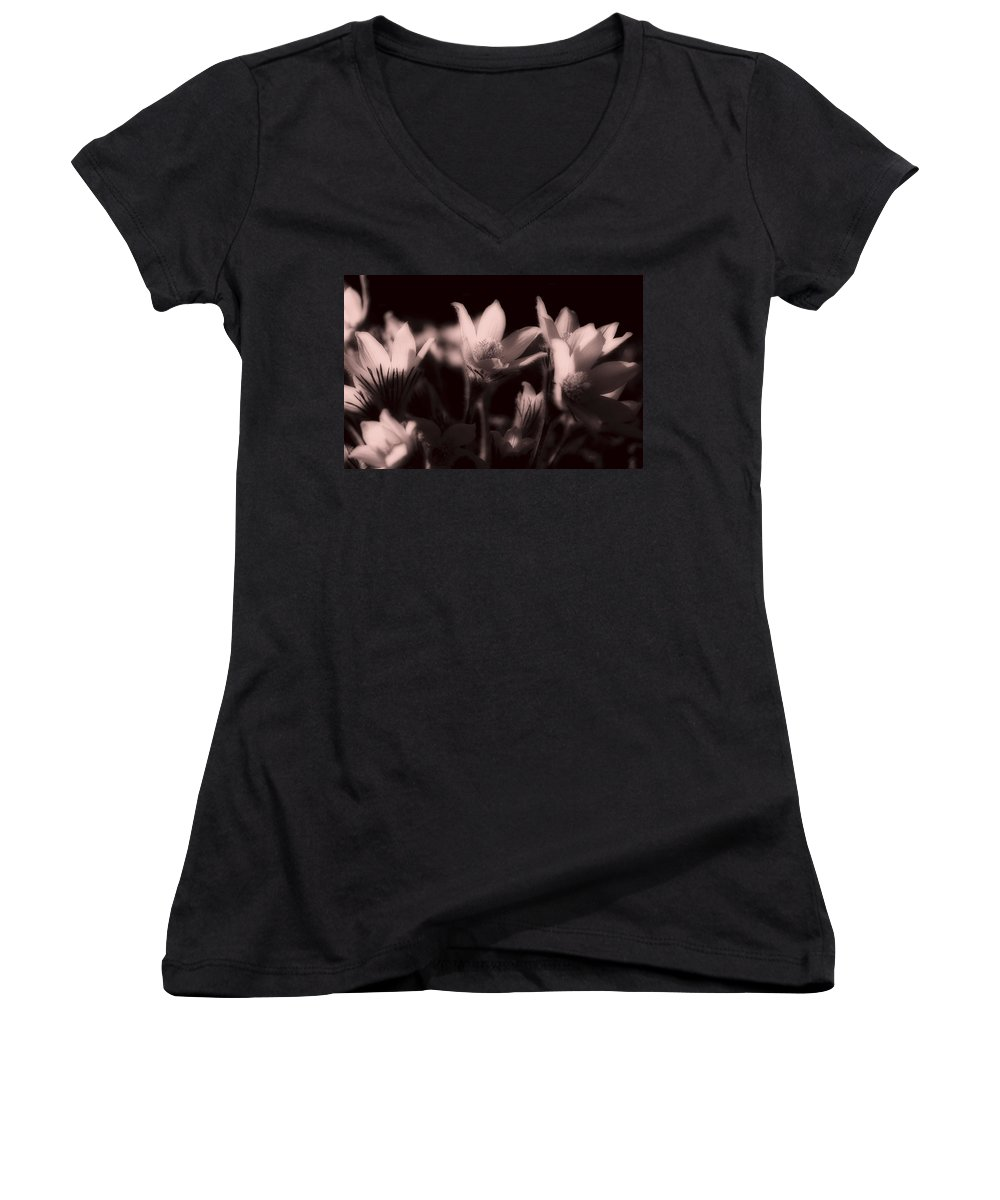 Flowers Women's V-Neck T-Shirt featuring the photograph Sleepy Flowers 2 by Marilyn Hunt
