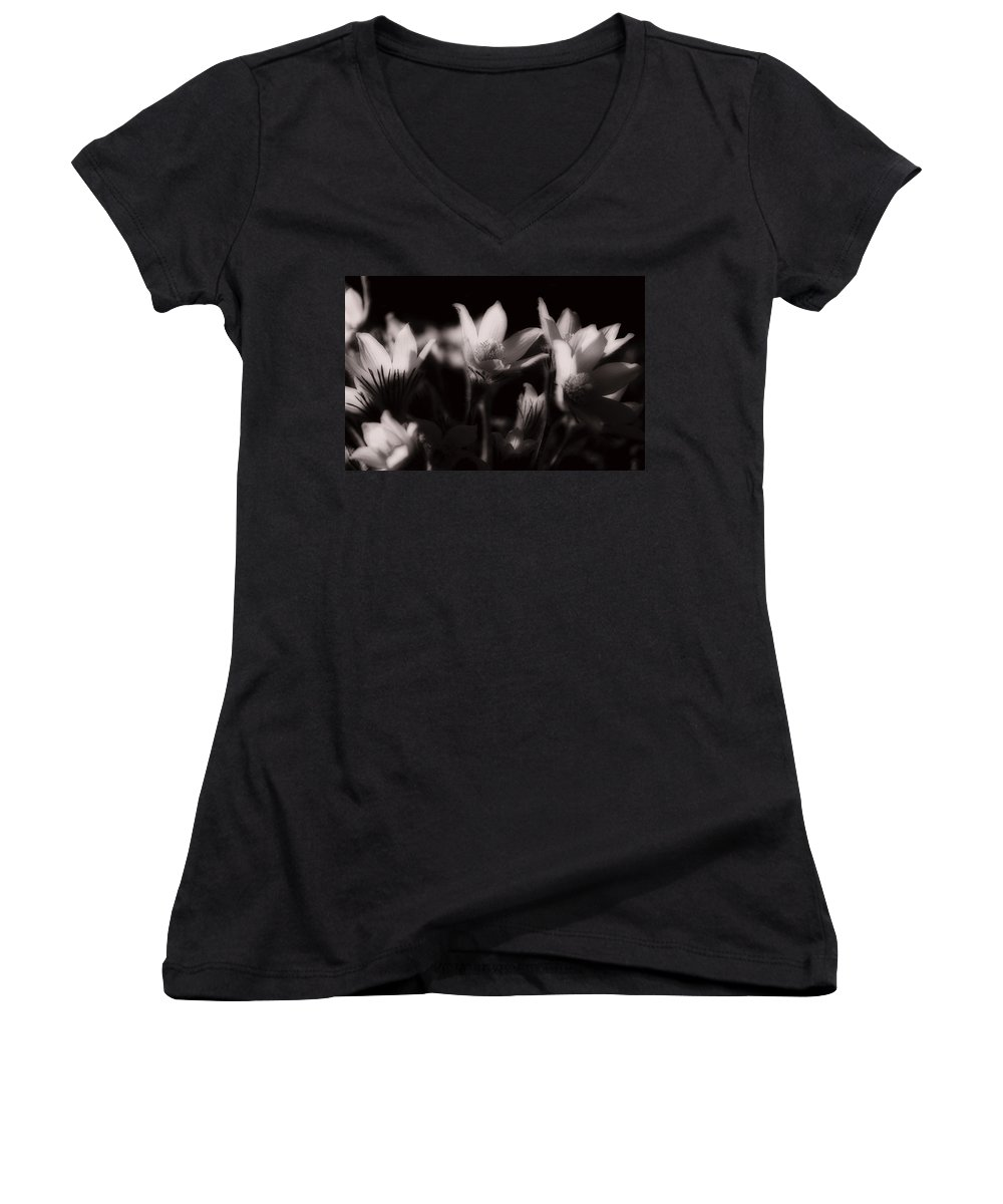 Flowers Women's V-Neck (Athletic Fit) featuring the photograph Sleepy Flowers by Marilyn Hunt