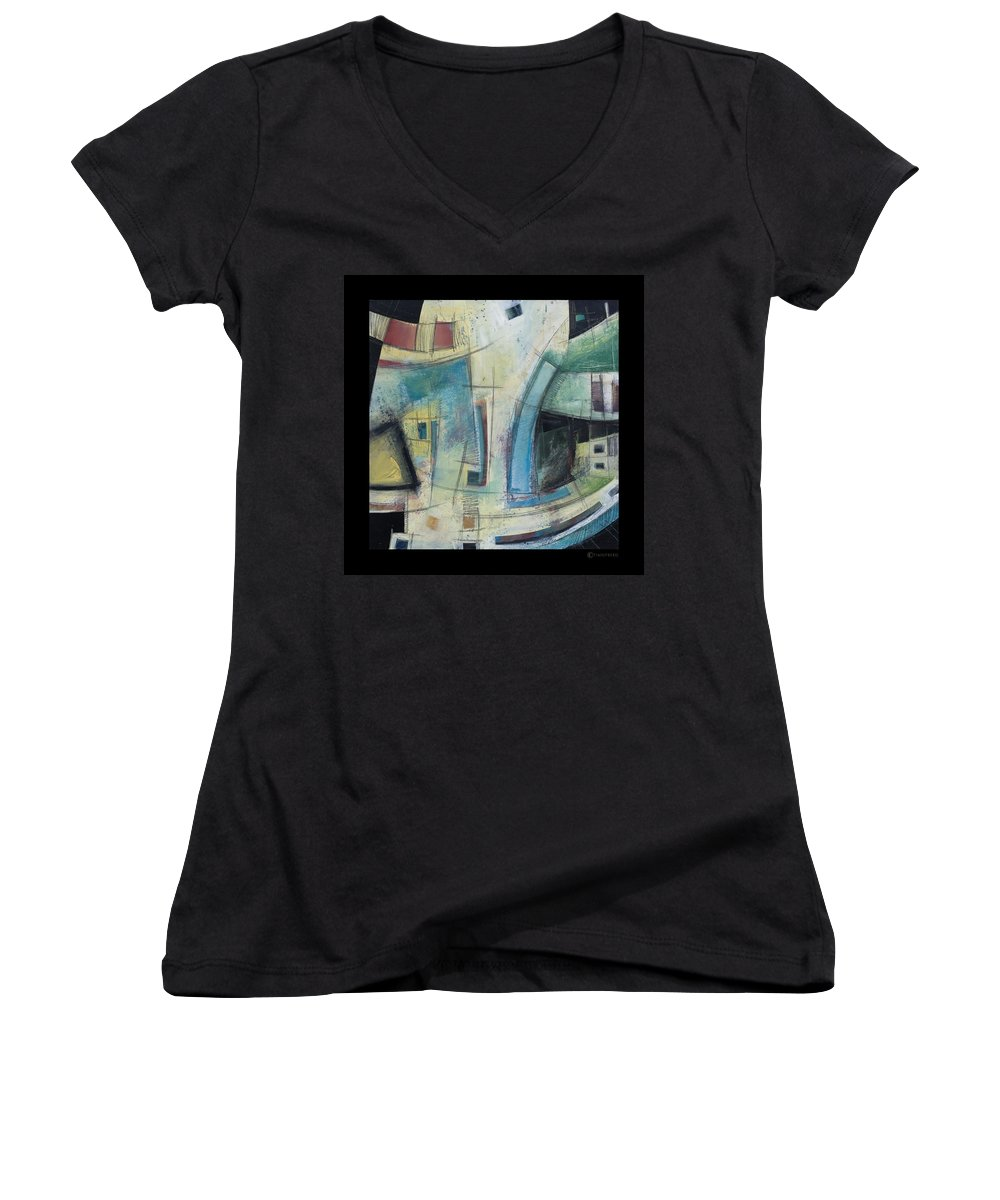 Abstract Women's V-Neck T-Shirt featuring the painting Small Town Blues by Tim Nyberg