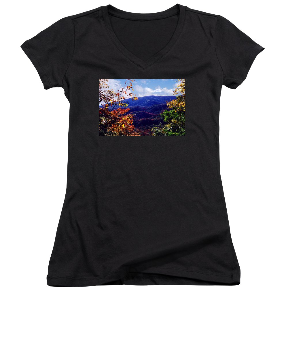 Mountain Women's V-Neck T-Shirt featuring the photograph Smoky Mountain Autumn View by Nancy Mueller