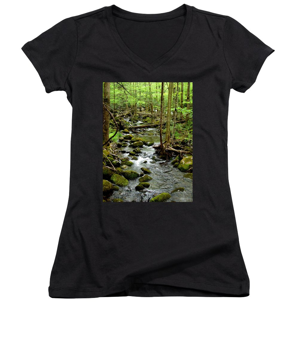 River Women's V-Neck T-Shirt featuring the photograph Smoky Mountain Stream 2 by Nancy Mueller