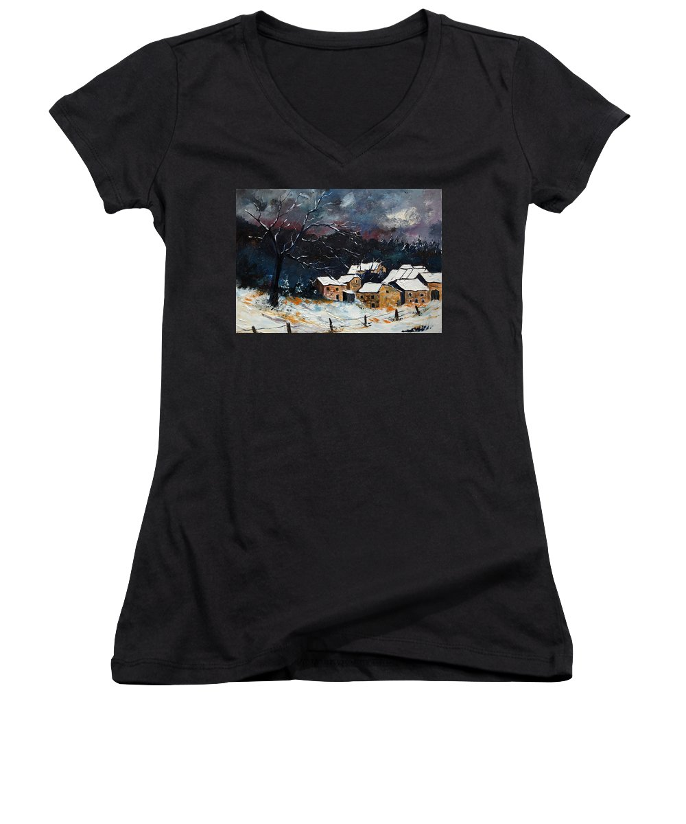 Snow Women's V-Neck T-Shirt featuring the painting Snow 57 by Pol Ledent