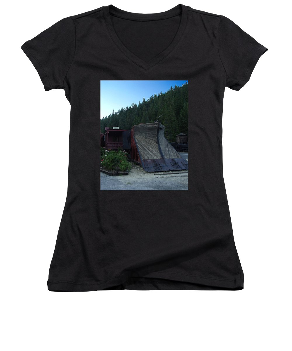 Train Women's V-Neck (Athletic Fit) featuring the photograph Snow Plow by Peter Piatt