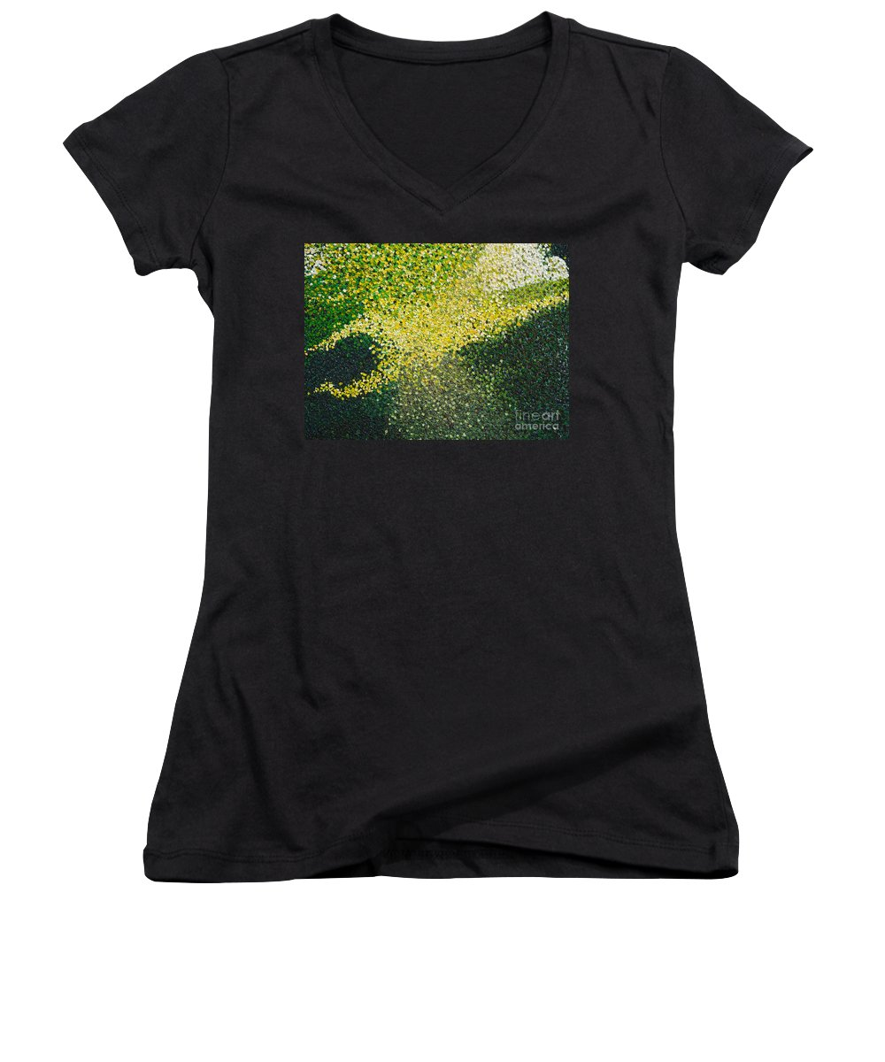 Abstract Women's V-Neck (Athletic Fit) featuring the painting Soft Green Light by Dean Triolo