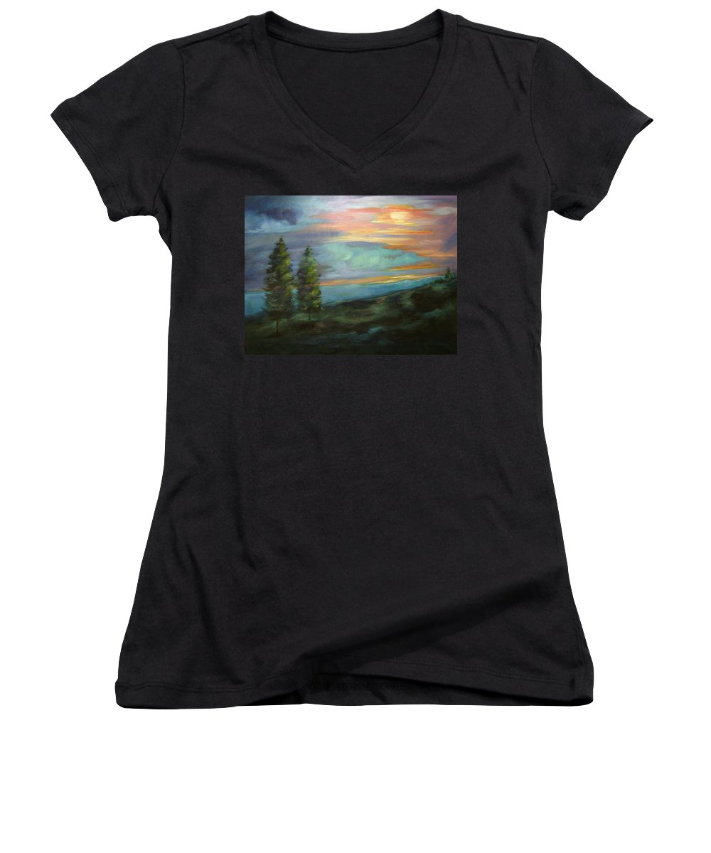 Landscape Women's V-Neck (Athletic Fit) featuring the painting Soledad by Ginger Concepcion