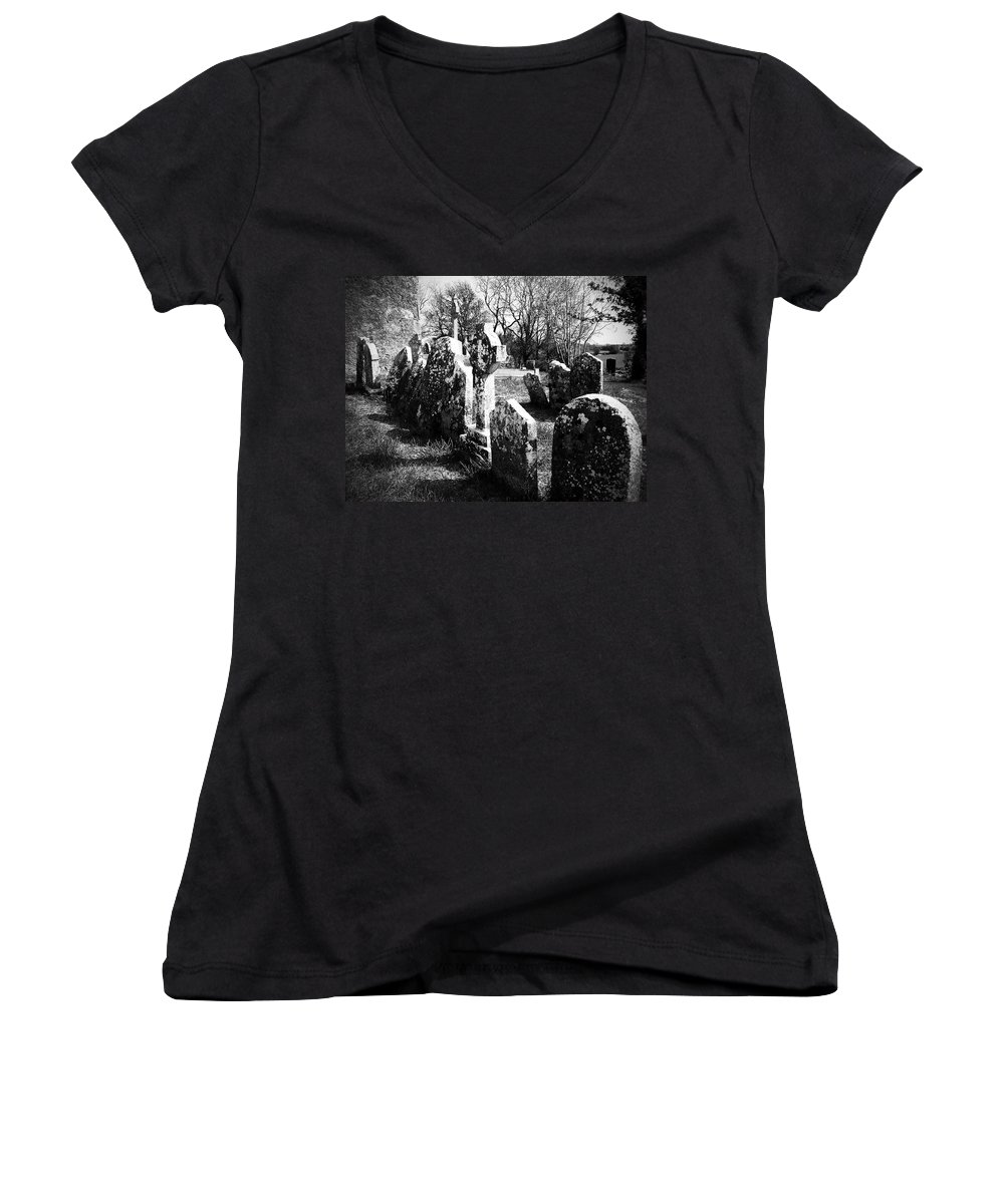 Ireland Women's V-Neck T-Shirt featuring the photograph Solitary Cross At Fuerty Cemetery Roscommon Irenand by Teresa Mucha