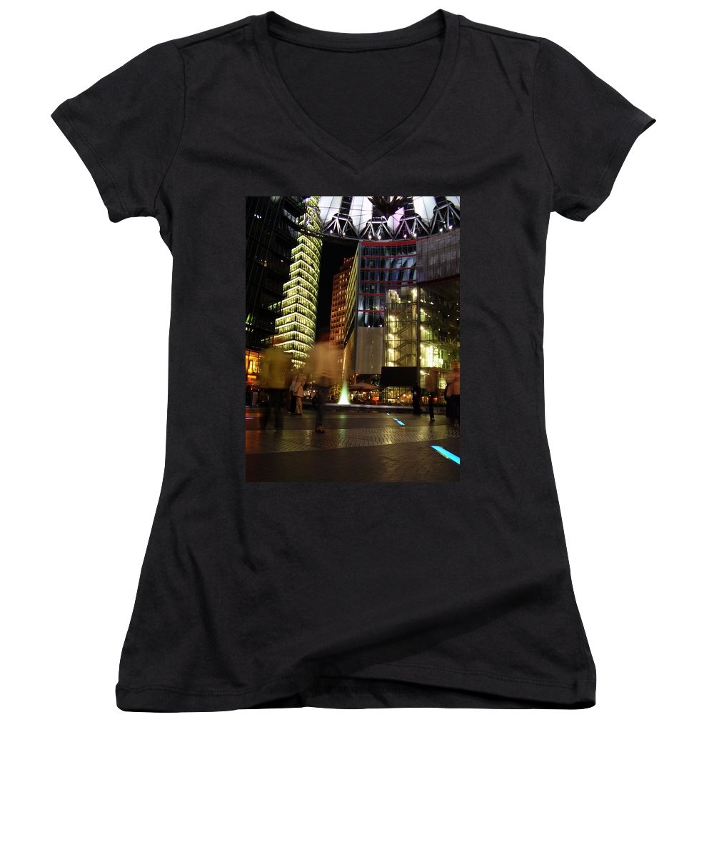 Sony Center Women's V-Neck T-Shirt featuring the photograph Sony Center by Flavia Westerwelle
