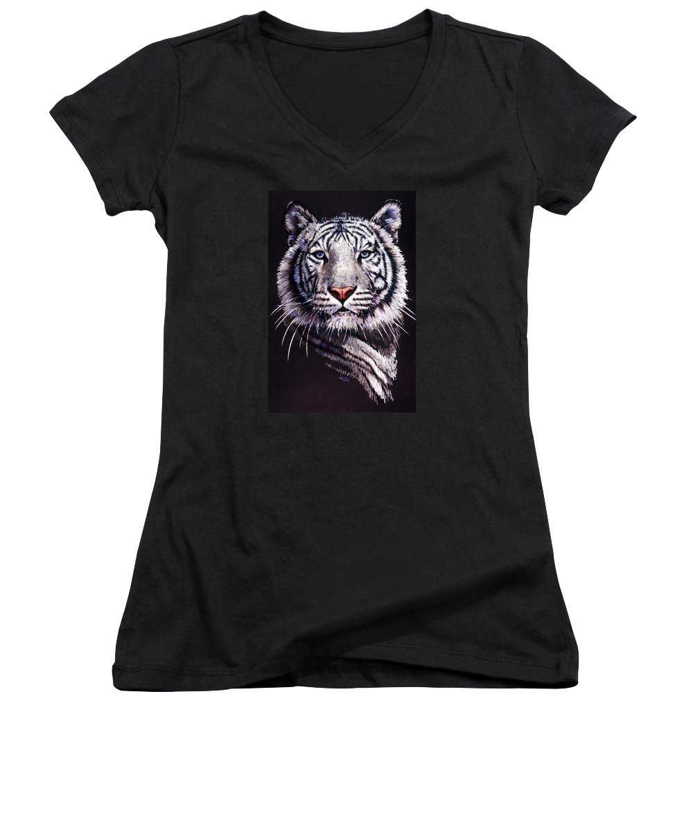 Tiger Women's V-Neck T-Shirt featuring the drawing Sorcerer by Barbara Keith