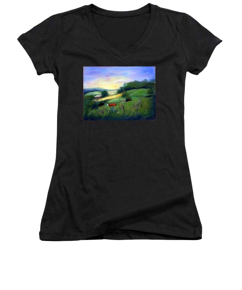 Landscape Women's V-Neck (Athletic Fit) featuring the painting Southern Ohio Farm by Gail Kirtz