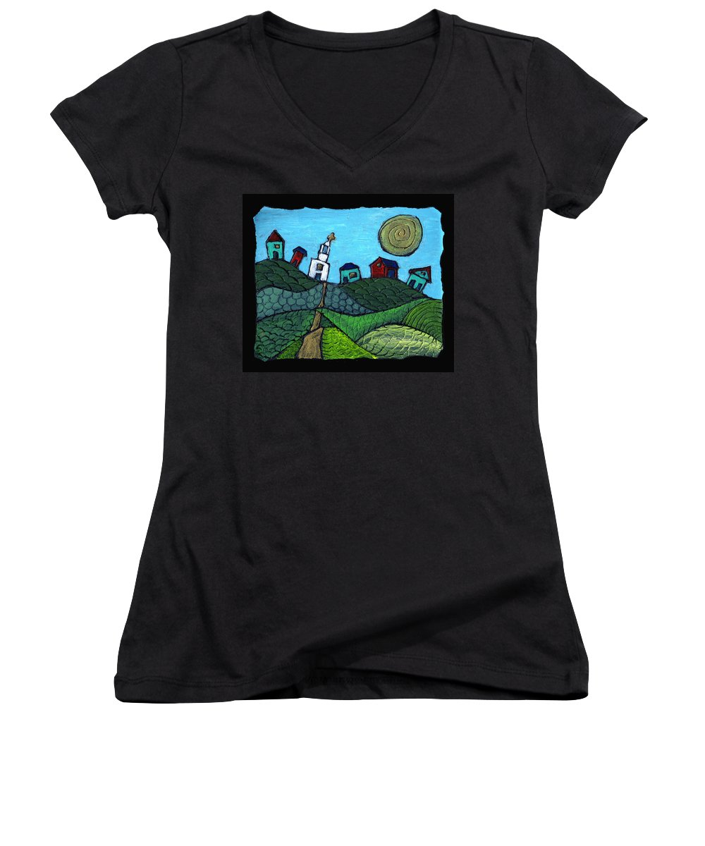 Whimsical Women's V-Neck T-Shirt featuring the painting Spring Comes To The Valley by Wayne Potrafka