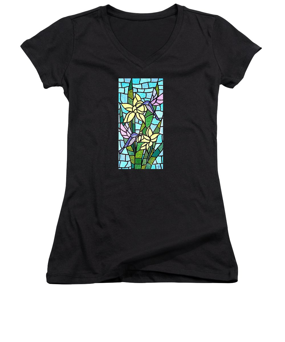 Flowers Women's V-Neck (Athletic Fit) featuring the painting Spring Fling by Jim Harris