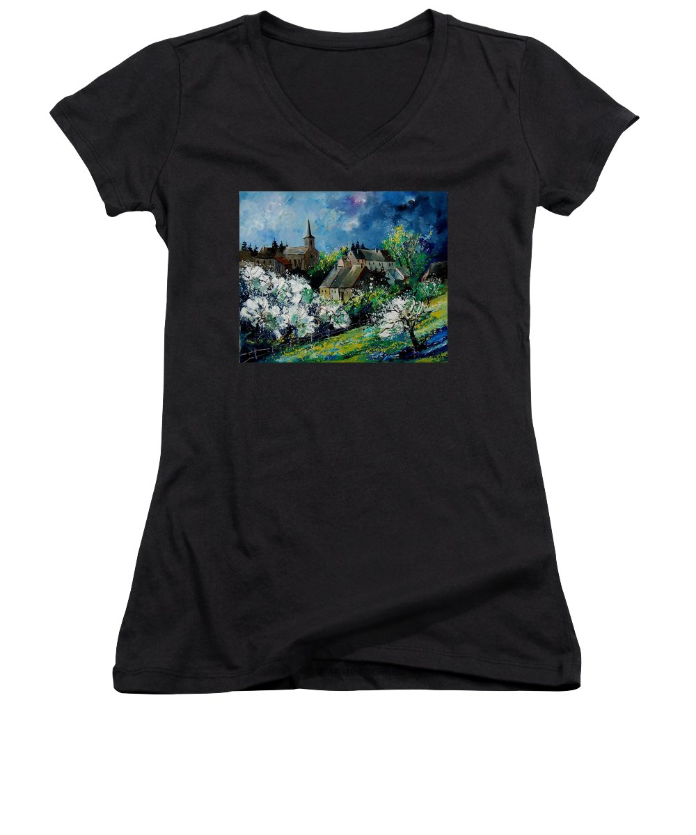 Spring Women's V-Neck (Athletic Fit) featuring the painting Spring In Fays Famenne by Pol Ledent