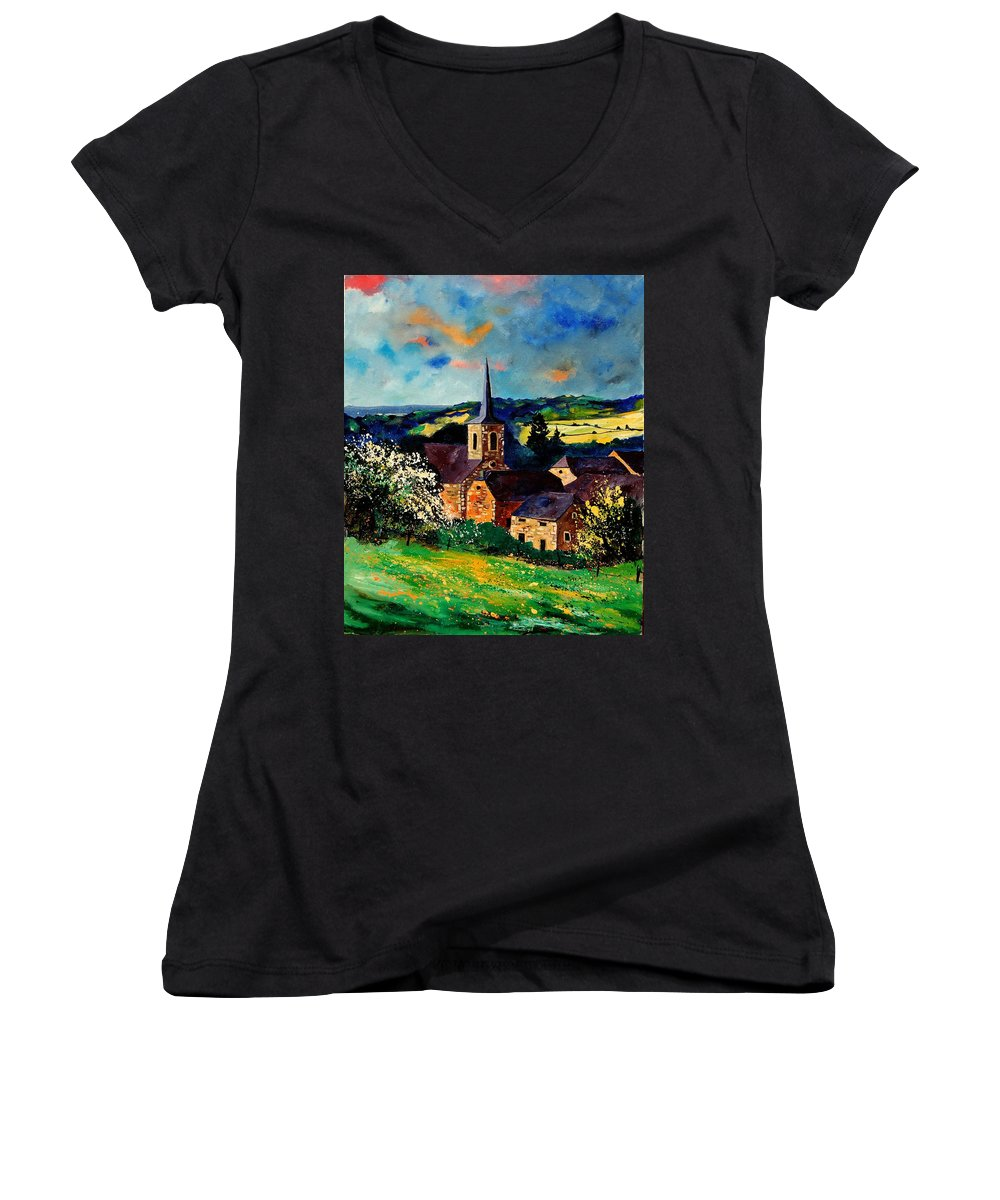 Spring Women's V-Neck T-Shirt featuring the painting Spring In Gendron by Pol Ledent