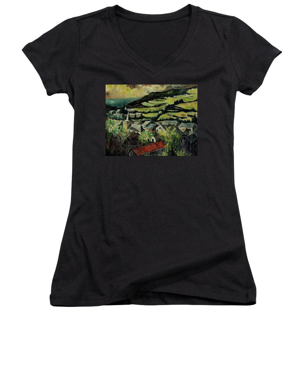 Spring Women's V-Neck T-Shirt featuring the painting Spring In Vresse Ardennes Belgium by Pol Ledent