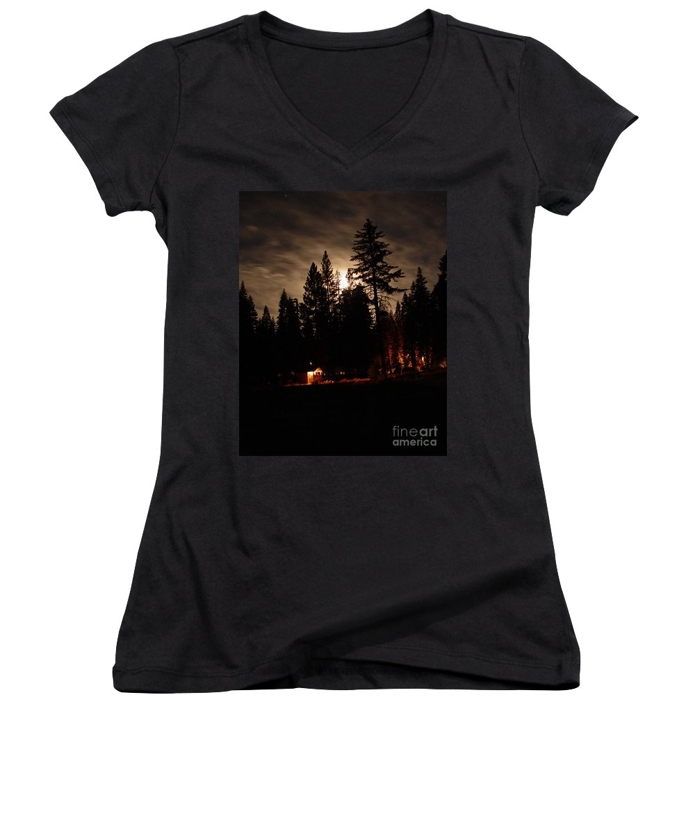 Moonlight Women's V-Neck (Athletic Fit) featuring the photograph Star Lit Camp by Peter Piatt
