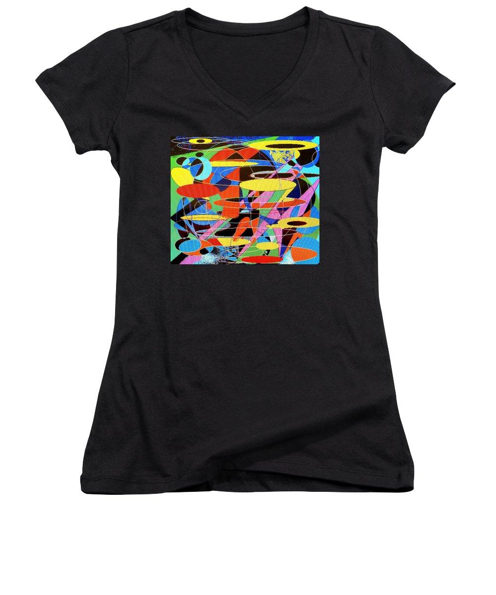 Abstract Women's V-Neck T-Shirt featuring the digital art Star Wars by Ian MacDonald